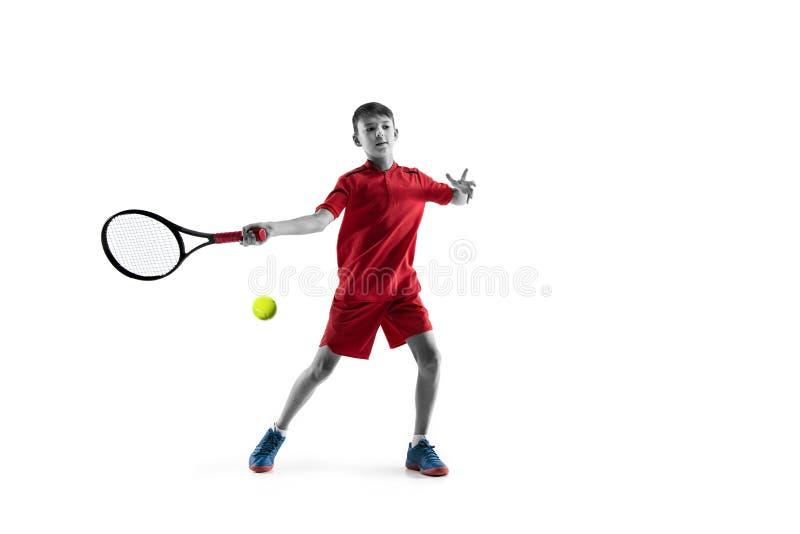 Молодой теннисист изолированный на белизне стоковое изображение