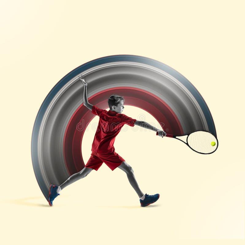 Молодой теннисист изолированный на желтой предпосылке иллюстрация штока