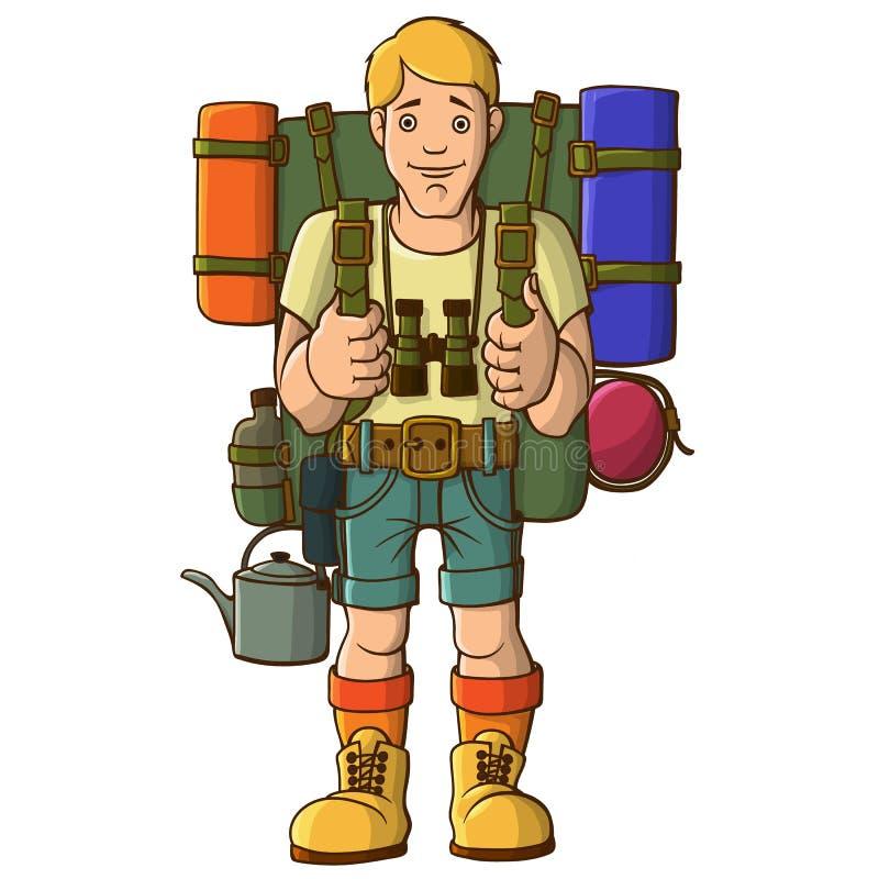 Молодой турист спорт с рюкзаком и боеприпасами бесплатная иллюстрация