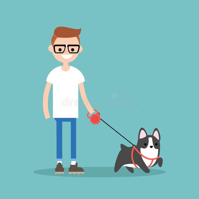 Молодой усмехаясь болван идя собака/плоско editable illust вектора иллюстрация штока