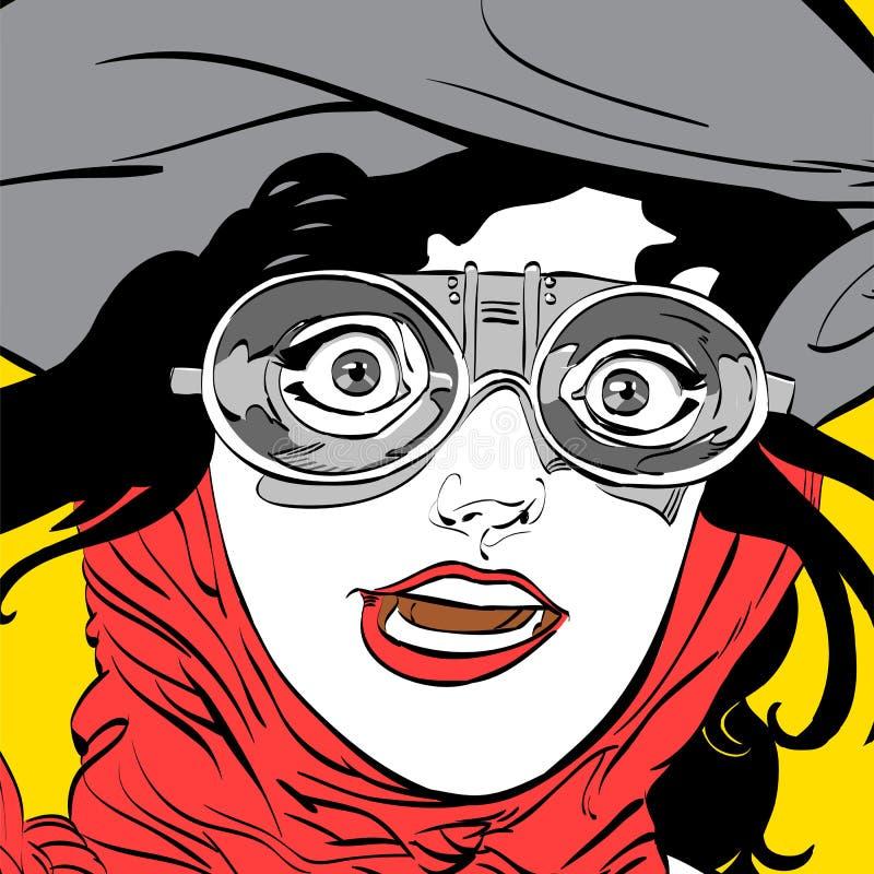 Молодой усмехаясь водитель Пилот девушки Пилот женщины Воздушные судн воздуха sport пилотный усмехаться Идея концепции рекламы и  бесплатная иллюстрация