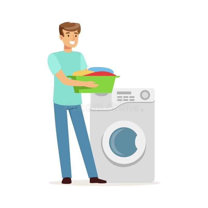 Молодой усмехаясь человек делая прачечную, держа таз полный пакостной прачечной, супруг дома работая дома иллюстрация вектора иллюстрация вектора
