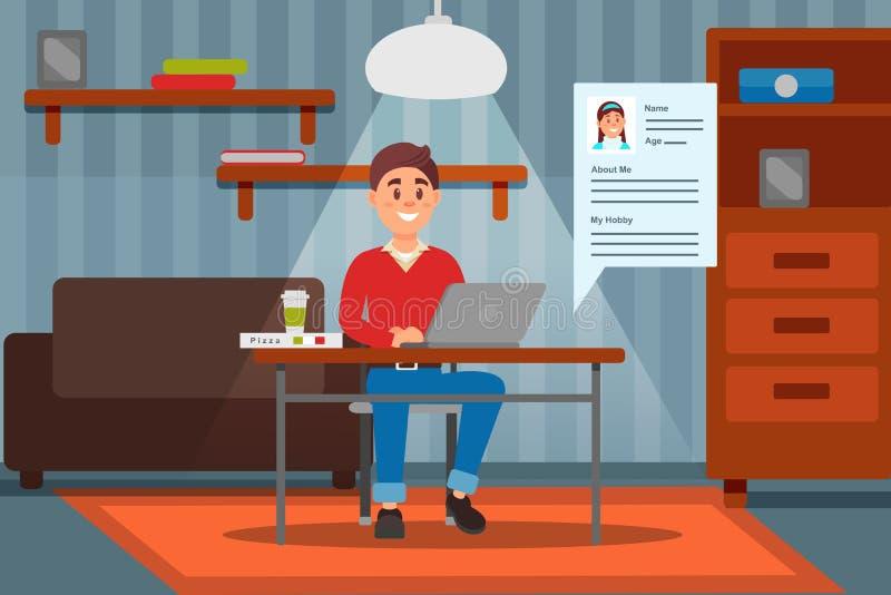 Молодой усмехаясь человек работая на портативном компьютере в его доме, ilustration вектора комнаты внутреннем иллюстрация штока