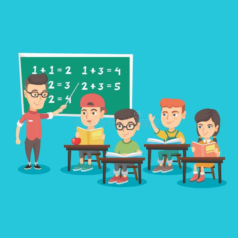 Молодой учитель объясняя к математике детей иллюстрация вектора