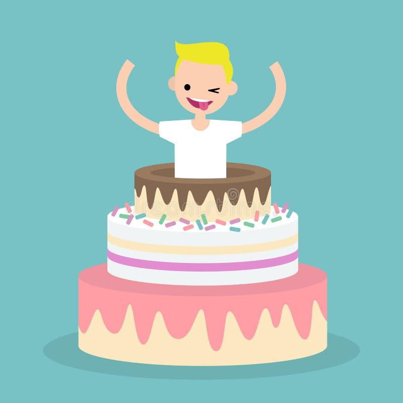 Молодой характер скача из торта/плоско editable беды вектора иллюстрация вектора