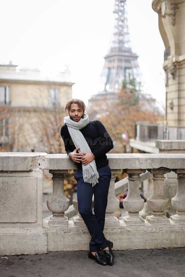 Молодой человек Афро американский красивый стоя около конкретных перил с предпосылкой Эйфелева башни в Париже стоковая фотография rf