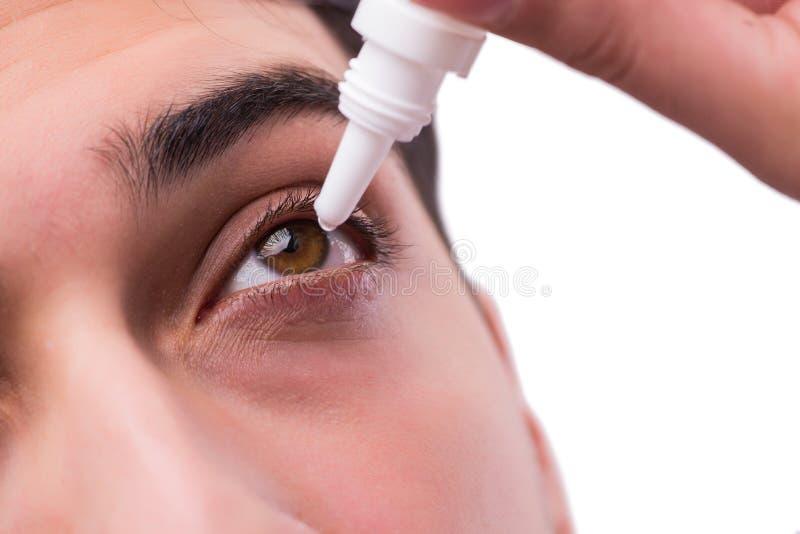 Молодой человек в концепции заботы глаза медицинской стоковое изображение