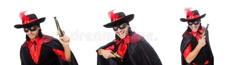 Молодой человек в пальто масленицы с оружием изолированным на белизне стоковые изображения