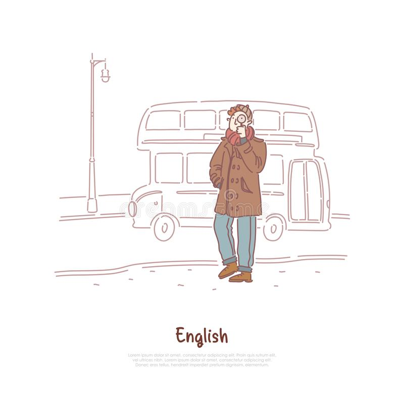 Молодой человек в пальто, сыскном держа увеличителе, автобусе двойной палуба, английском исследовании культуры, перемещении к зна бесплатная иллюстрация