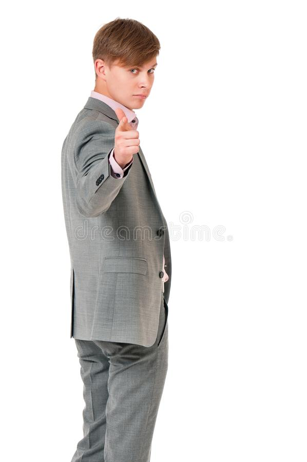 Молодой человек в сером костюме стоковые фотографии rf