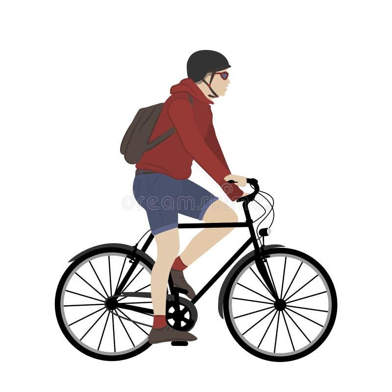 Молодой человек городского регулярного пассажира пригородных поездов взрослого мужчины велосипеда города иллюстрация вектора