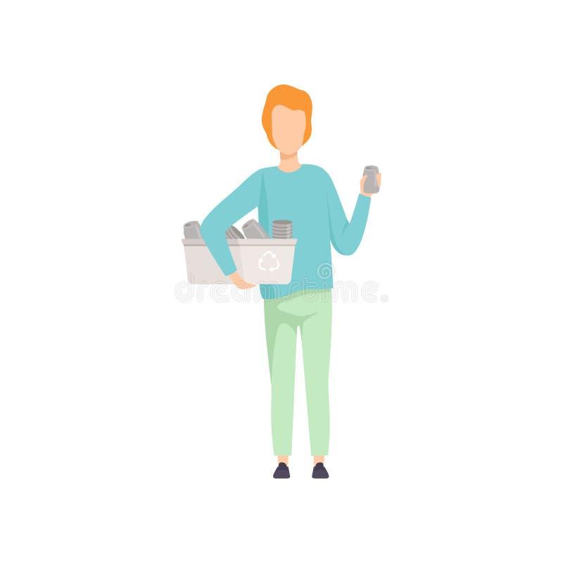 Молодой человек держа контейнер с алюминиевыми чонсервными банками, собирать людей, сортируя отброс для рециркулировать иллюстрац бесплатная иллюстрация