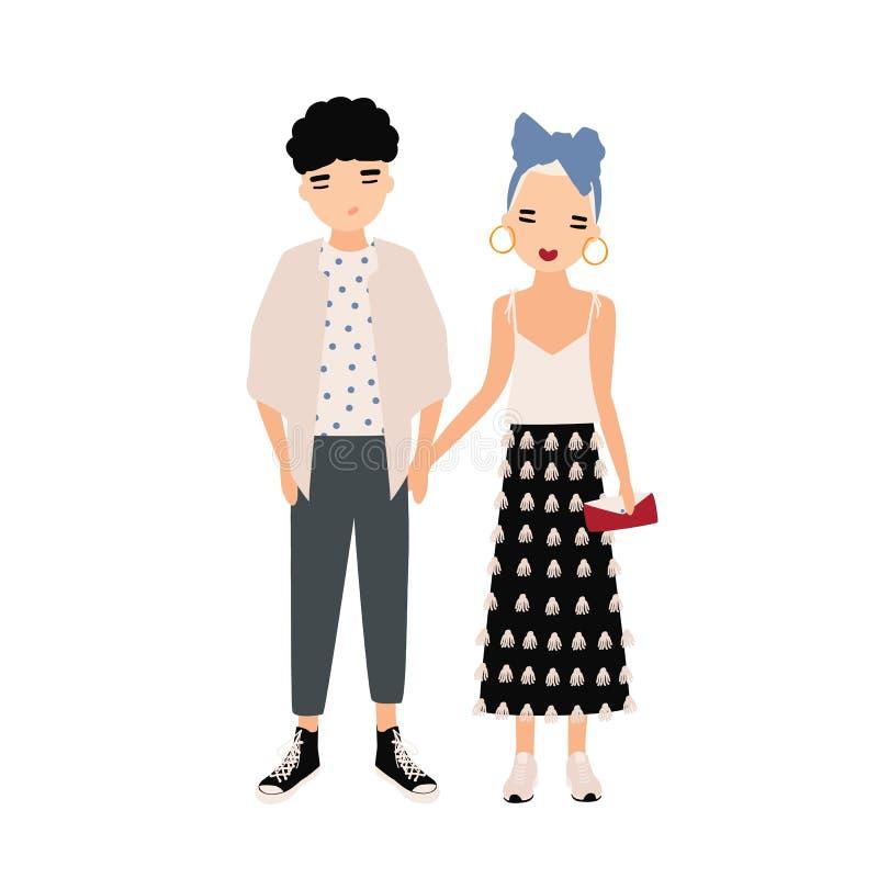 Молодой человек и женщина одели в элегантных одеждах стоя совместно Модные пары, стильные пары иллюстрация детей персонажей из му иллюстрация вектора