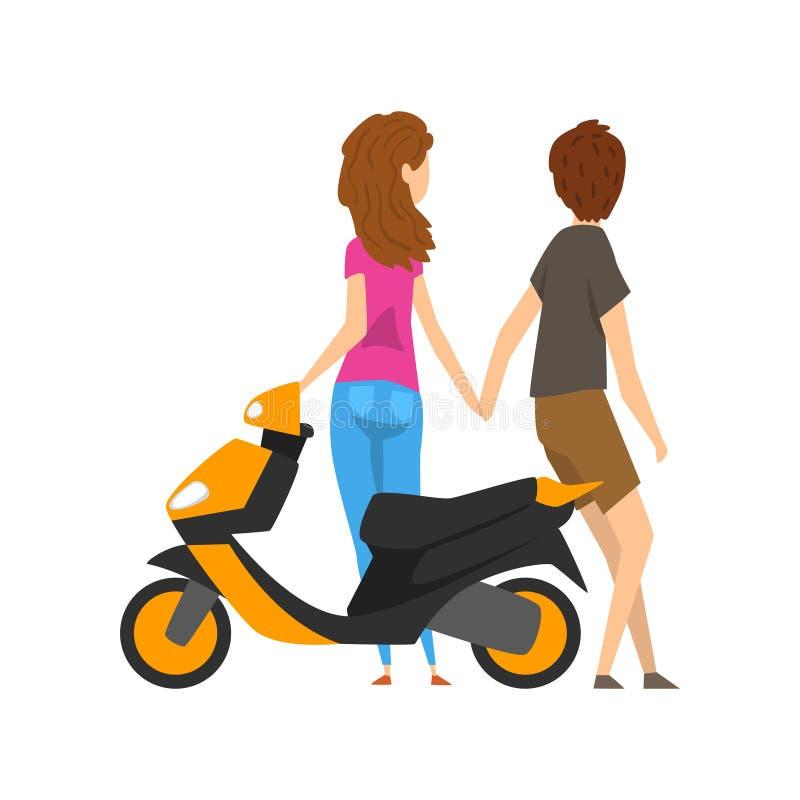 Молодой человек и женщина стоя рядом с самокатом и держа руки vector иллюстрация на белой предпосылке бесплатная иллюстрация