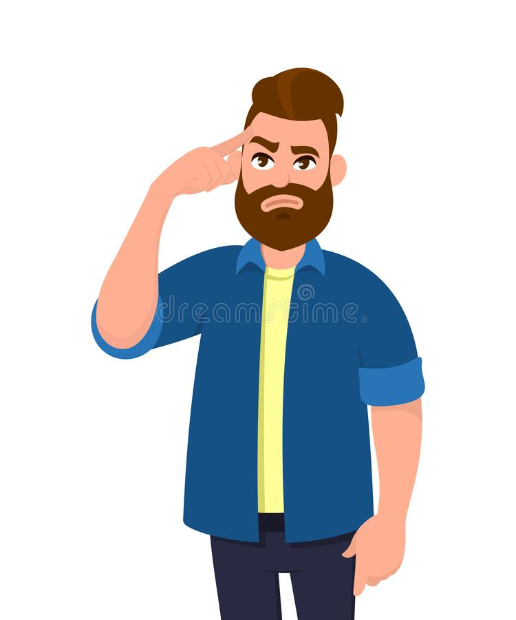 Молодой человек касаясь его вискам и вспоминая что-то Укомплектуйте личным составом держать палец на голове и чувствовать утомлян бесплатная иллюстрация