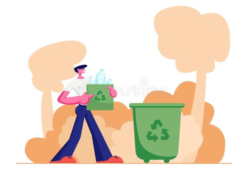 Молодой человек носит сумку с повторно использует знак полный пластиковых бутылок портит к ящику сора на улице, концепции загрязн иллюстрация штока