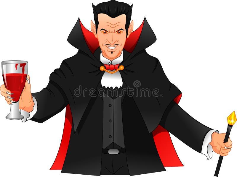 Молодой человек нося костюм Дракула иллюстрация штока