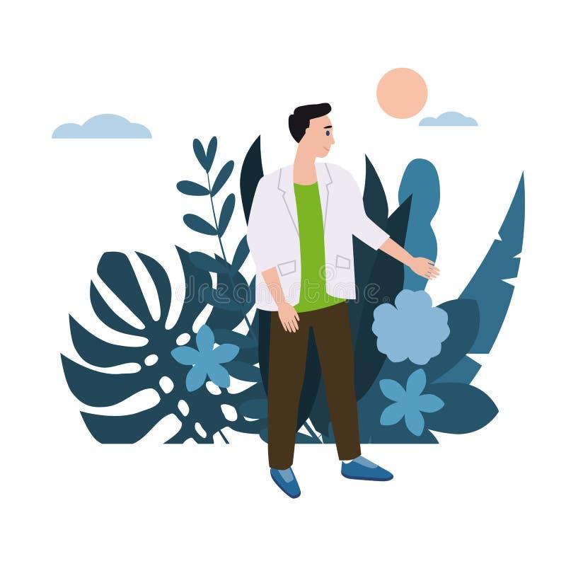 Молодой человек, парень в белой куртке Флора предпосылки цветет флористические листья Мультфильмы дизайна тенденции плоские Красо иллюстрация вектора