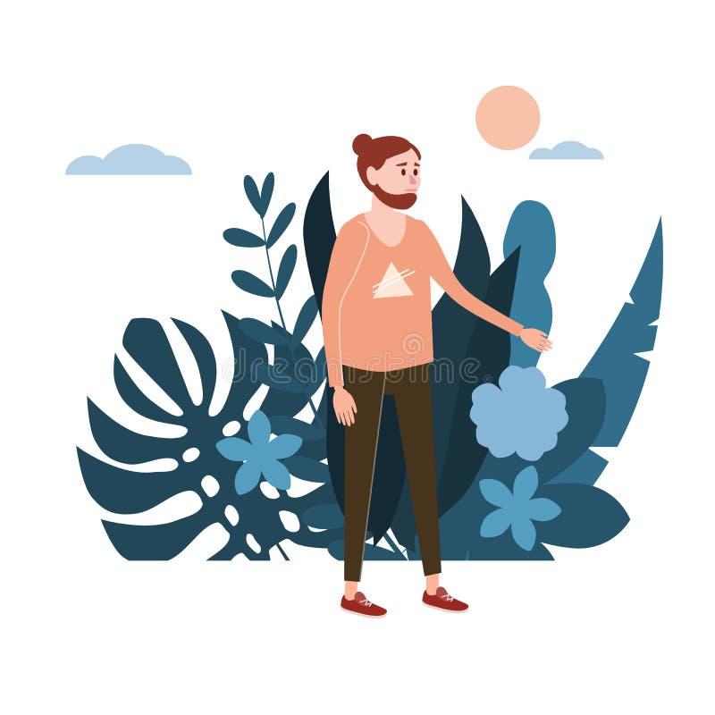 Молодой человек, парень в розовой футболке Флора предпосылки цветет флористические листья Мультфильмы дизайна тенденции плоские К бесплатная иллюстрация
