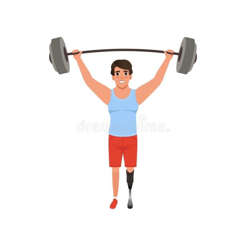 Молодой человек при искусственная нога держа штангу над его головой Концепция поднятия тяжестей Пригонка креста или игра спорта к иллюстрация вектора