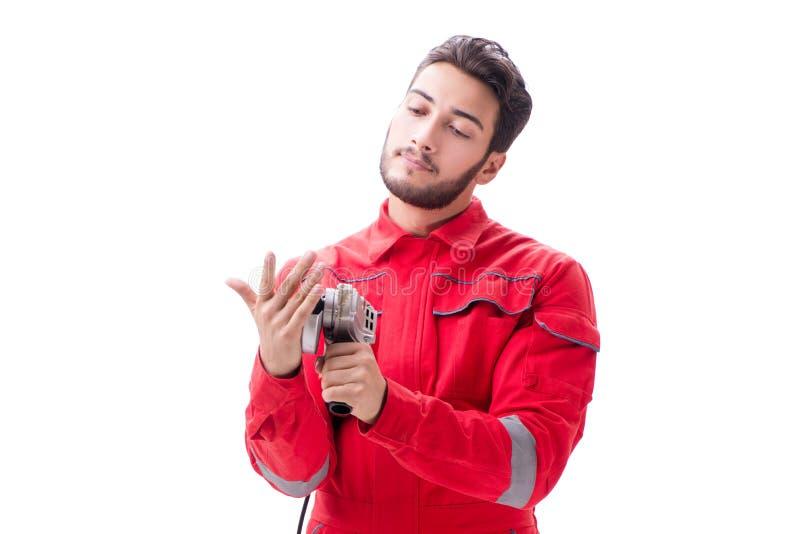Молодой человек при круговой полировщик изолированный на белизне стоковые изображения rf