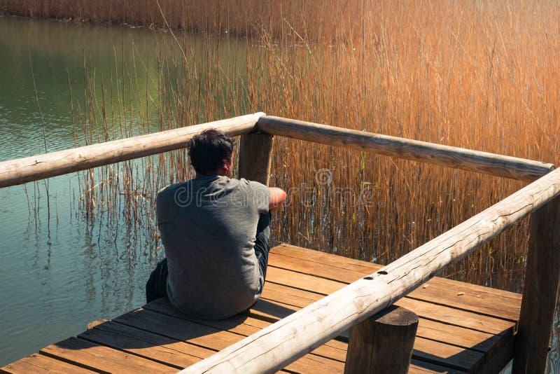 Молодой человек самостоятельно на озере, портрете, arboleda Ла, Баскониях стоковое фото rf