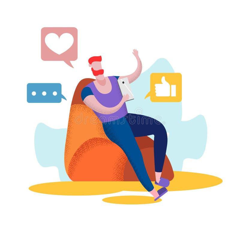 Молодой человек сидит на кресле дома со смартфоном бесплатная иллюстрация