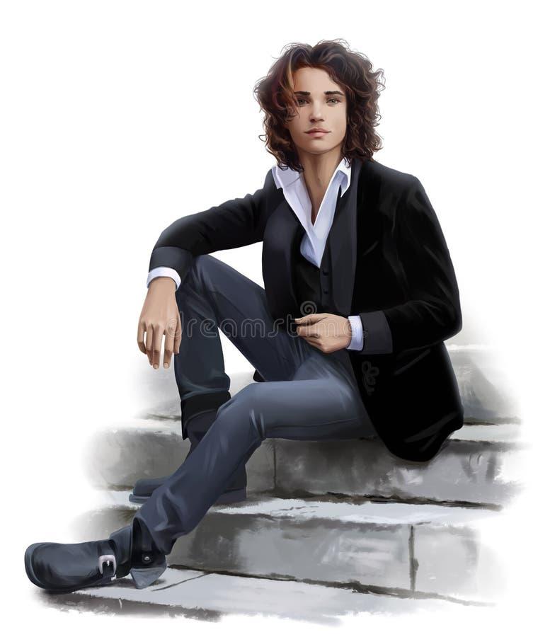 Молодой человек сидит на шагах иллюстрация вектора