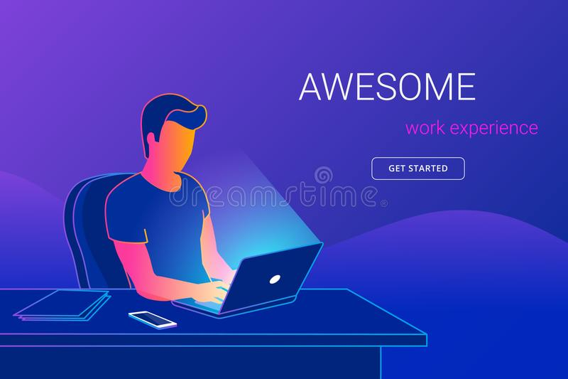 Молодой человек сидя в офисе на столе работы и работая с компьтер-книжкой иллюстрация вектора