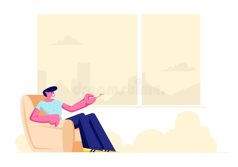 Молодой человек сидя в удобном кресле дома с дистанционным управлением для проводника или телевизора в руках, мужского характера иллюстрация штока