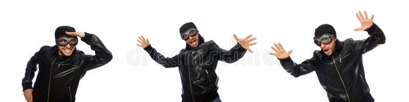 Молодой человек со стеклами авиатора на белизне стоковые фотографии rf