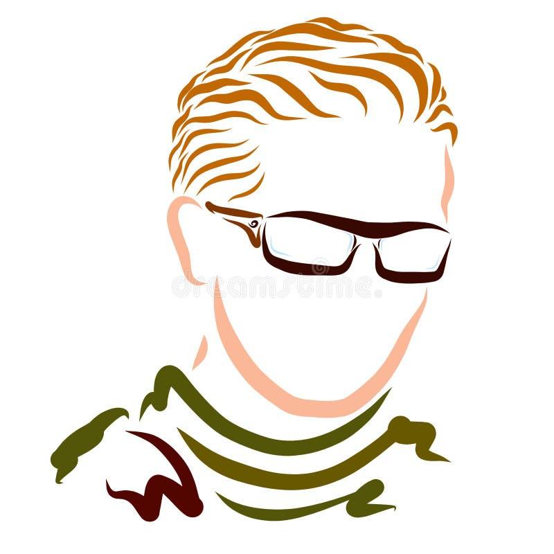 Молодой человек со стеклами светлых волос нося иллюстрация вектора