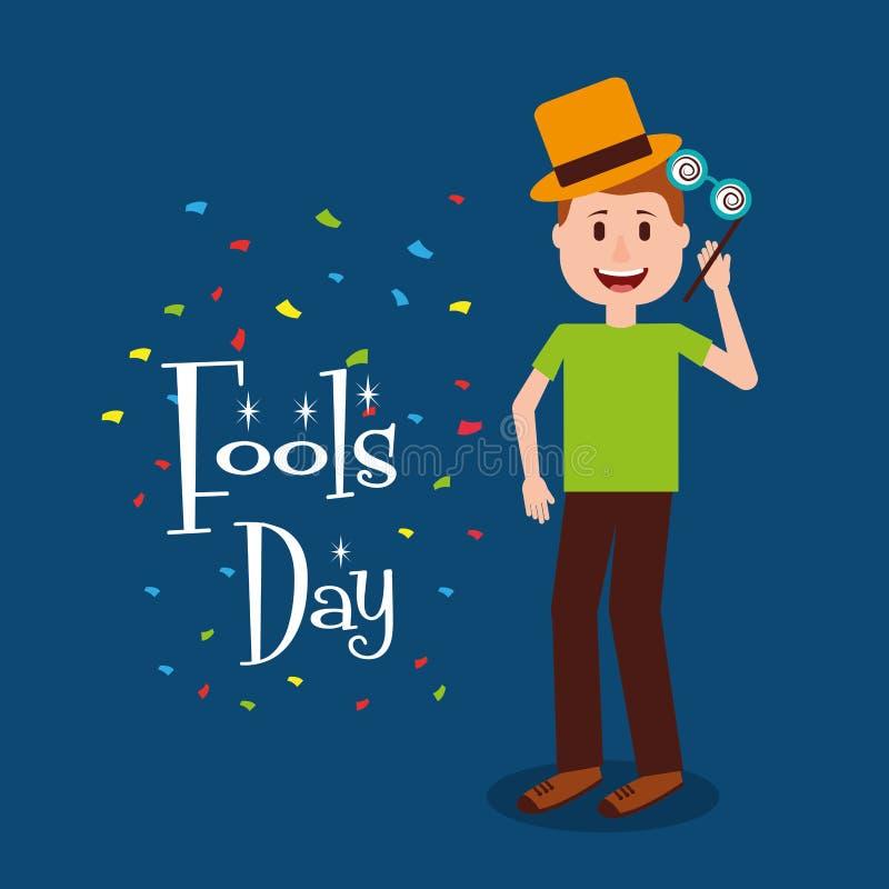 Молодой человек стоя шальной день стекел и дурачков шляпы иллюстрация штока