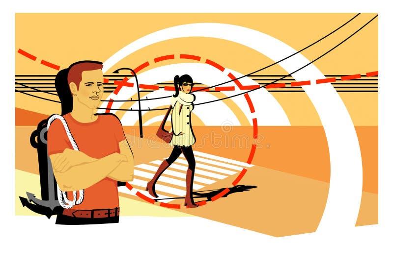 Молодой человек с анкером на его плече Девушка пересекает дорогу Pickuper знакомцев матрос бесплатная иллюстрация