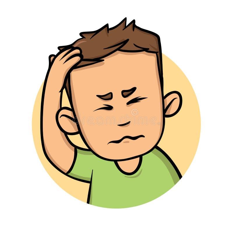 Молодой человек с головной болью, парень держа руку к его голове Плоский значок дизайна Плоская иллюстрация вектора Изолировано н иллюстрация штока