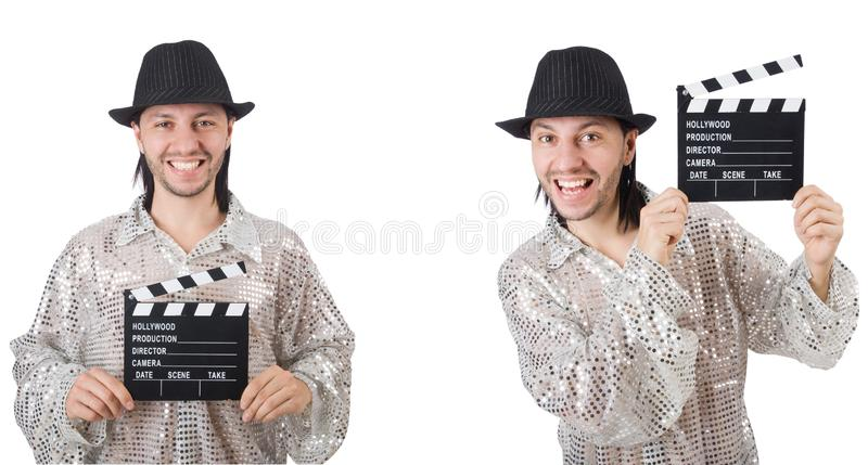 Молодой человек с нумератором с хлопушкой изолированным на белизне стоковые фотографии rf