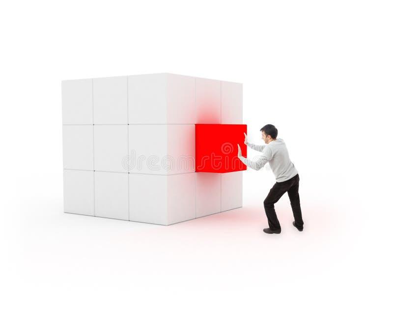 Молодой человек устанавливая кубик для завершения бесплатная иллюстрация
