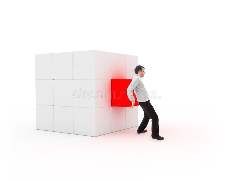 Молодой человек устанавливая кубик для завершения иллюстрация вектора