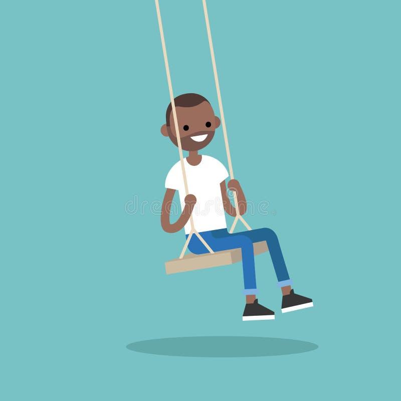 Молодой черный парень сидя на качании/плоско illu иллюстрация вектора