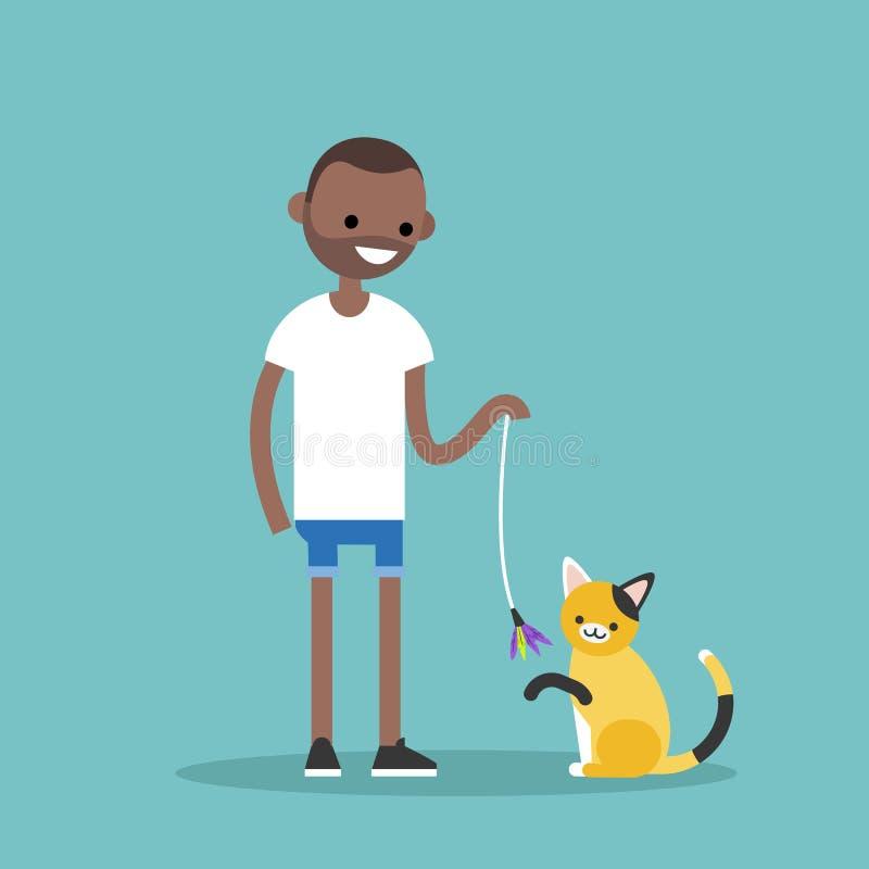 Молодой черный характер играя с котом/плоско editable вектором иллюстрация вектора