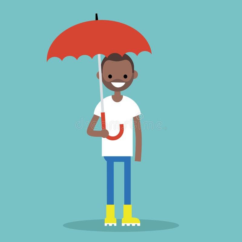 Молодой черный характер при зонтик нося желтые резиновые ботинки иллюстрация вектора
