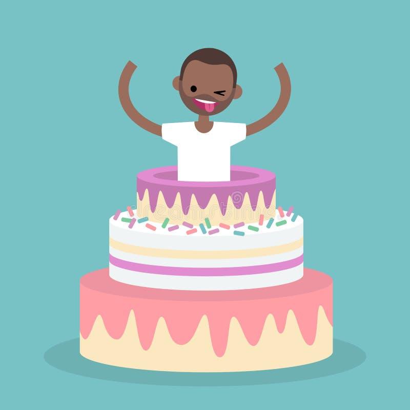 Молодой черный характер скача из торта/плоско editable vect иллюстрация штока