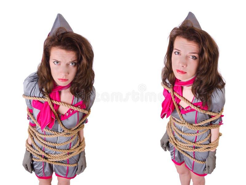 Молодой stewardess связанный вверх с веревочкой стоковые изображения