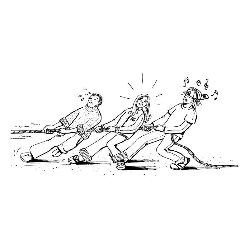 молодости вытягивая веревочки 3 иллюстрация вектора