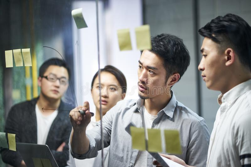 Молодые азиатские люди команды дела встречая в офисе стоковые изображения rf