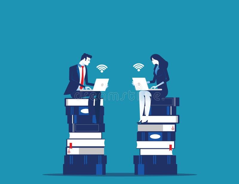 Молодые бизнесмены сидя на книгах и планировании стратегии r иллюстрация вектора