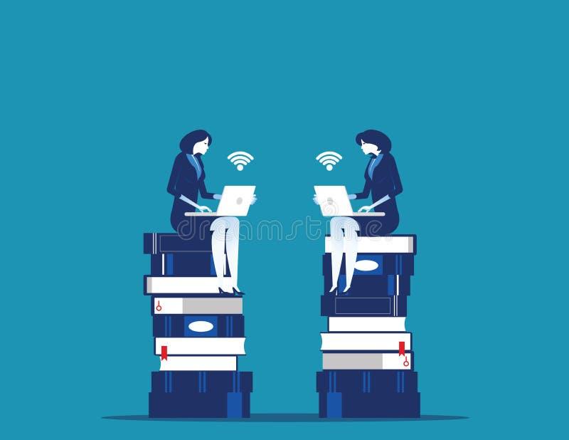 Молодые бизнесмены сидя на книгах и планировании стратегии r иллюстрация штока