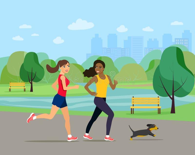 Молодые девушки бегут с собакой в парке иллюстрация вектора