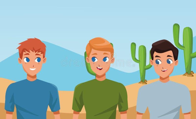 Молодые друзья усмехаясь с мультфильмами случайных одежд иллюстрация вектора