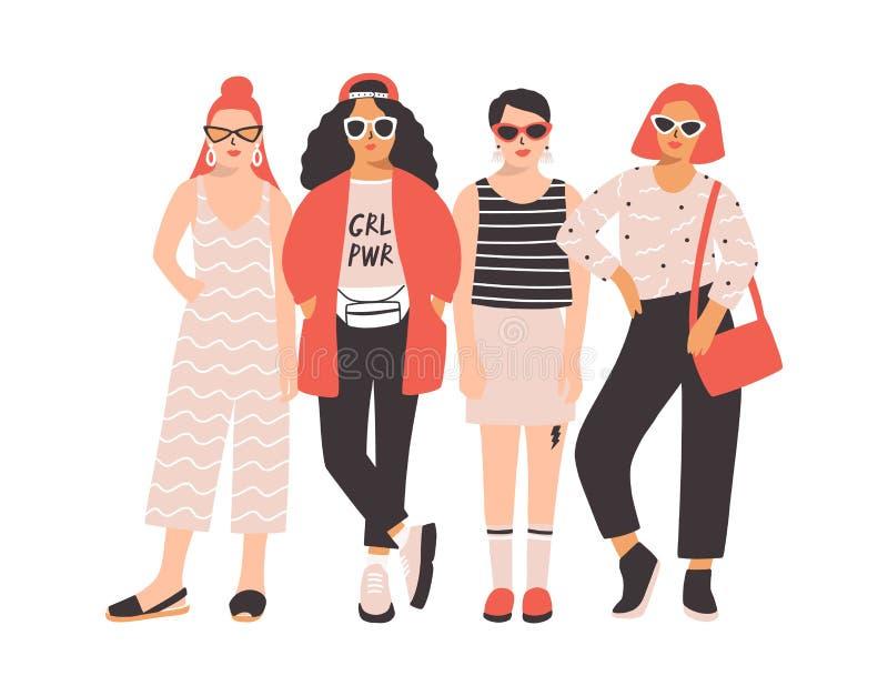 4 молодые женщины или девушки одели в ультрамодных одеждах стоя совместно Группа в составе друзья или феминист активисты женщина иллюстрация штока